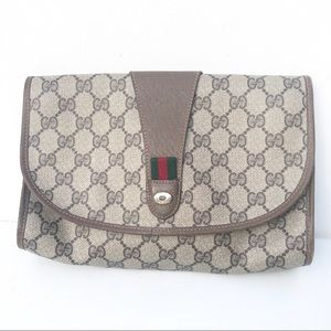 Authentic GUCCI logo GG Clutch Bag Brown